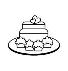 Sweet cake with hearts icon vector