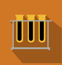 Test tubes icon with long shadow flat design vector