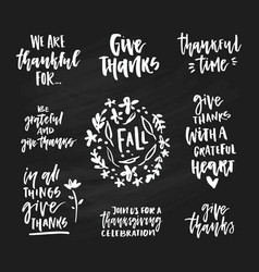 Thanksgiving lettering collection vector