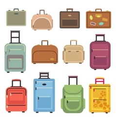 Travel luggage bag suitcase flat icons vector