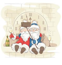 two cheerful santa claus vector image
