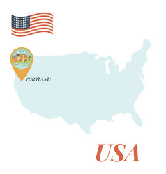 usa map with portland pin travel concept vector image