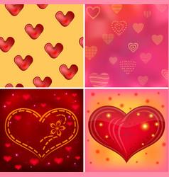 valentine background set vector image vector image
