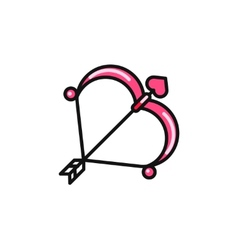 Valentine day Cupid bow and arrow flat icon vector