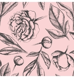 Vintage elegant pattern with peony flowers vector image