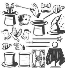 vintage magic elements collection vector image