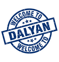 welcome to dalyan blue stamp vector image