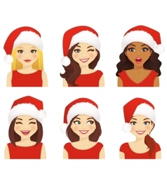 Woman expression set in santa hat vector