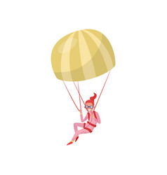 Woman flying with parachute extreme hobby young vector
