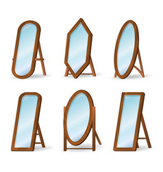 wooden floor mirrors vector image