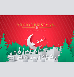 year paper cut winter city card vector image