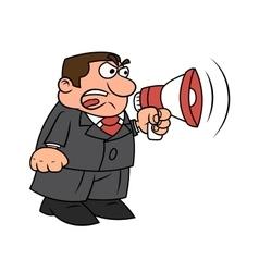Boss yelling into megaphone vector image