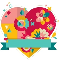 Heart with fun colorful geometric elements vector
