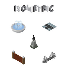 isometric architecture set of bridge sculpture vector image vector image