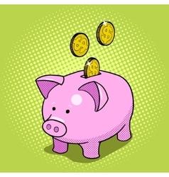 Piggy bank hand drawn pop art style vector image vector image