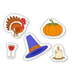 thanksgiving day symbols stickers flat set vector image