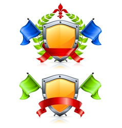 coat of arms with shield triangular flags wreath r vector image