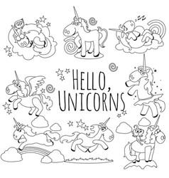 cute unicorn isolated line icon set magic pegasus vector image