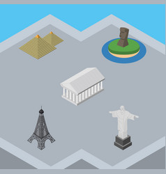 isometric architecture set of chile egypt paris vector image vector image