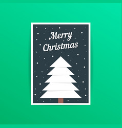 merry christmas card with white xmas tree vector image vector image