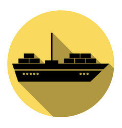 ship sign flat black icon vector image vector image