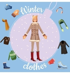 Winter clothes concept cartoon style vector image