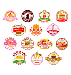 Fast food restaurant cafe icons vector
