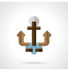 Flat color anchor icon vector image