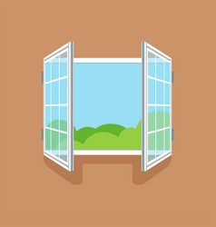 flat open window on brown wall vector image vector image