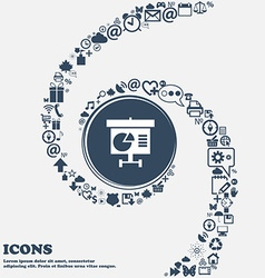 Graph icon sign in the center Around the many vector image
