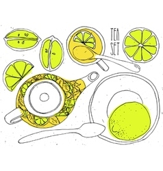 Hand-draw teapot and cup set - green tea with vector image