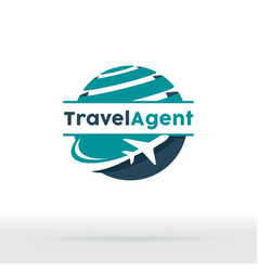 jet aircraft with globe symbol for travel agency vector image