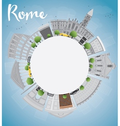 Rome skyline with grey landmarks and copy space vector image vector image