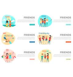set of friends conceptual web banners vector image
