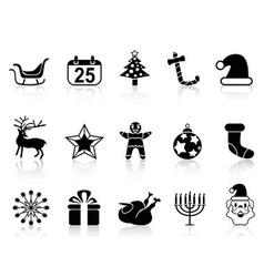 simple black christmas icons set vector image