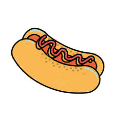 Fast food hot dog meal vector