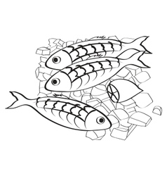 fresh fish and lemon on the ice vector image vector image