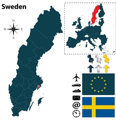 Sweden and European Union map small vector image vector image