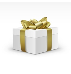 White Gift Box with Yellow Gold Ribbon Isolated vector image vector image