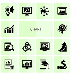 14 chart filled icons set isolated on white vector