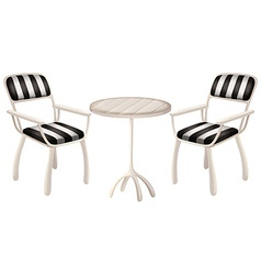 A table and two chairs vector