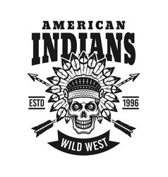 american indians emblem with chief skull vector image