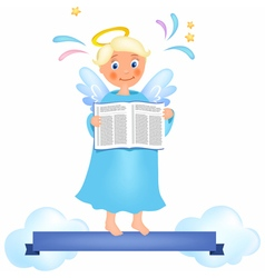 Angel with book vector