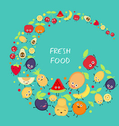 background with cute fruits background with cute vector image
