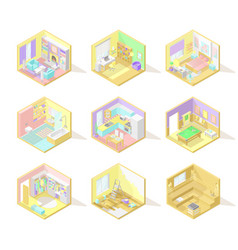 Big set of isometric home interiors vector