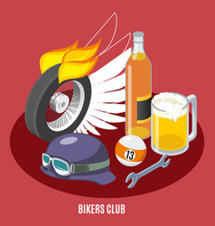 Bikers attributes isometric composition vector