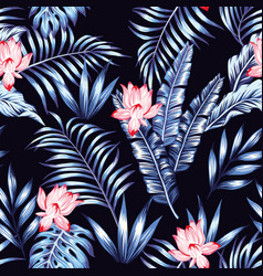 blue tropical leaves pink flowers black background vector image