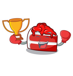 Boxing winner red velvet mascot cartoon vector