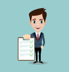 businessman answers questions of interview vector image