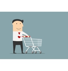 Businessman with empty shopping cart vector image